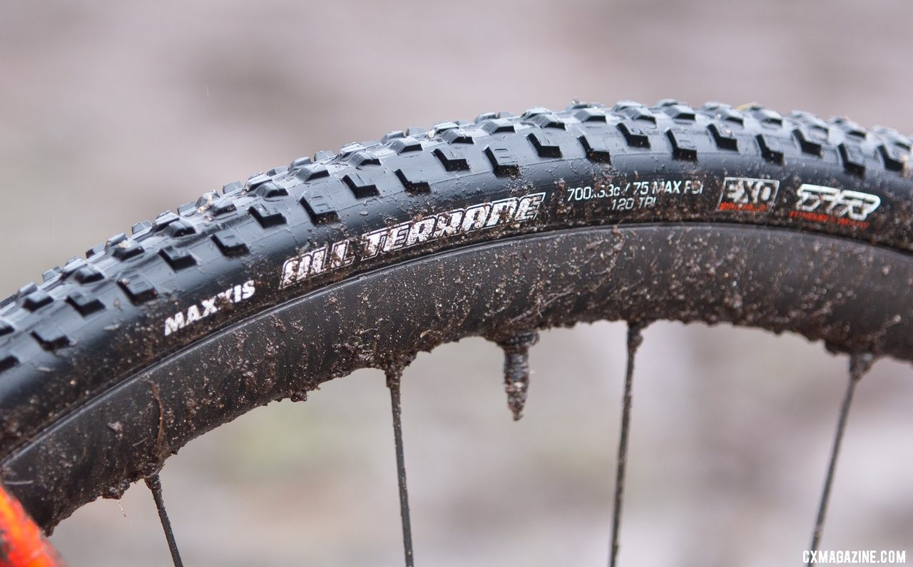 Despite the mud, Myrah used an intermediate tread Maxxis All Terrane tubeless tire. Don Myrah's Ibis Hakka MX. 2019 USA Cycling Cyclocross National Championships bike profiles, Lakewood, WA. © A. Yee / Cyclocross Magazine