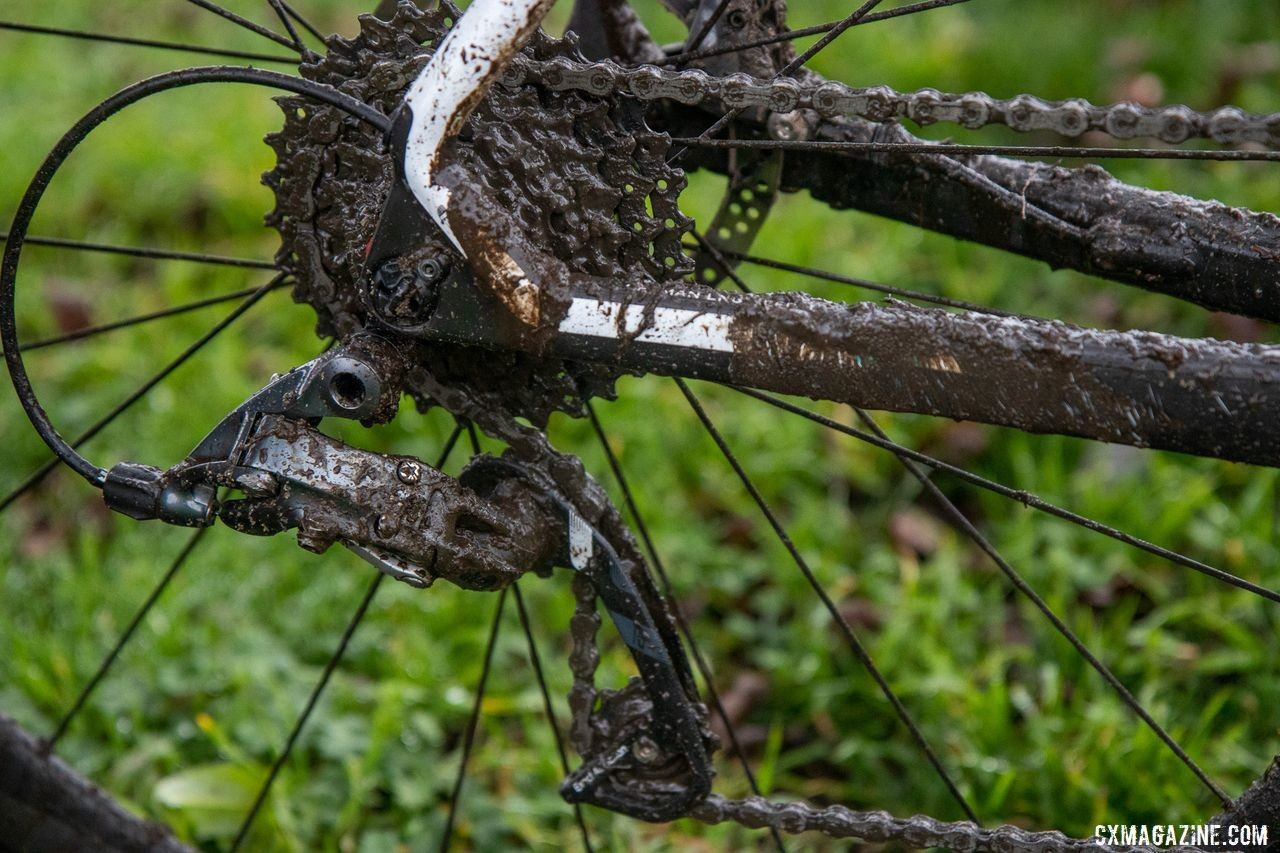Since he was using a front derailleur, Smith could not use the Force 1 derailleur, which features a clutch. George Smith's National Championship Focus Mares, 2019 Cyclocross National Championships, Lakewood, WA.