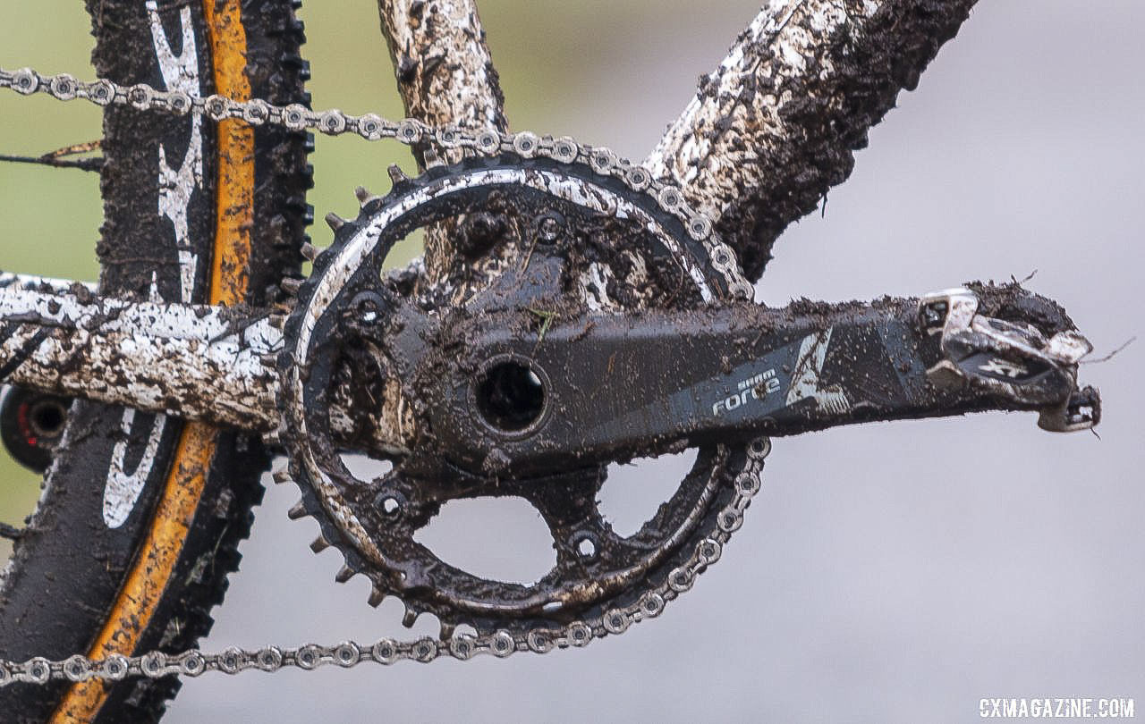 SRAM's X-Sync chain rings use a narrow wide tooth profile to enhance chain retention. Andrew Strohmeyer's Trek Boone. 2019 USA Cycling Cyclocross National Championships bike profiles, Lakewood, WA. © A. Yee / Cyclocross Magazine