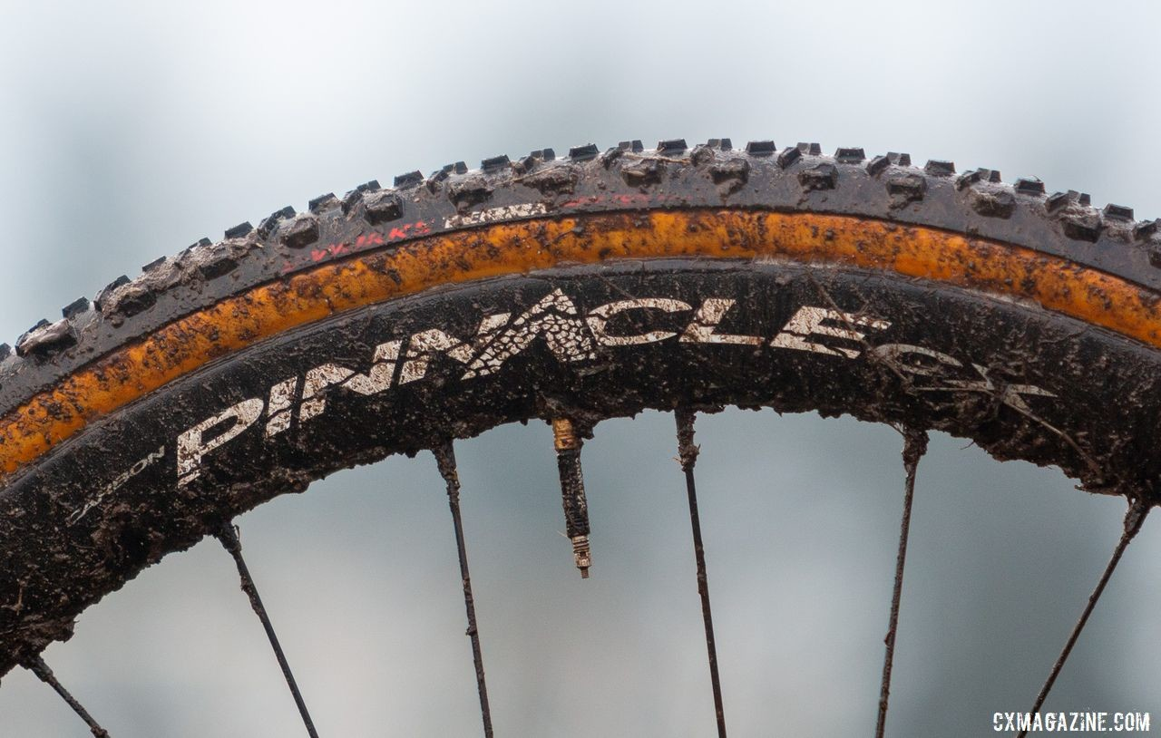 The Pinnacle CX tubular rim has a 32mm wide rim bed to allow for a better interface with a tire. Andrew Strohmeyer's Trek Boone. 2019 USA Cycling Cyclocross National Championships bike profiles, Lakewood, WA. © A. Yee / Cyclocross Magazine
