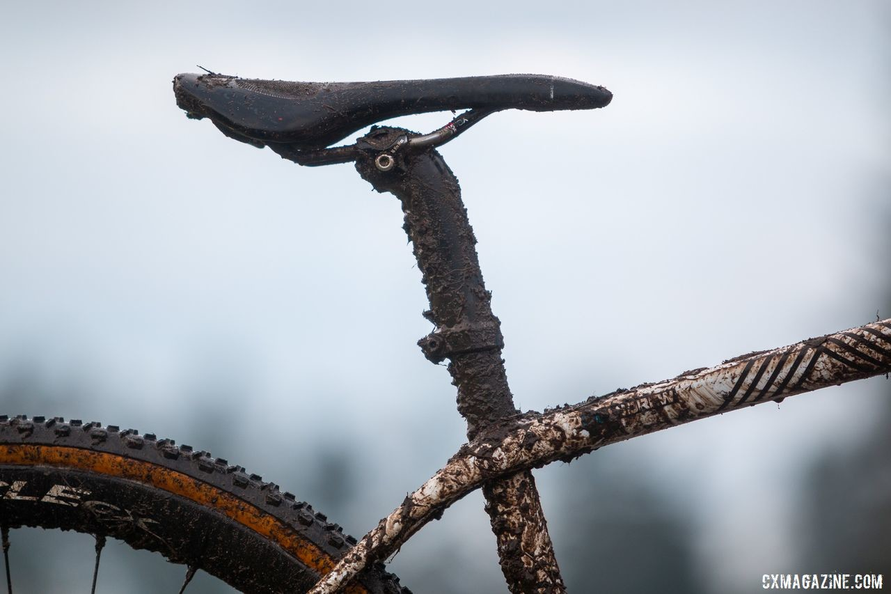 Trek's integrated seat mast uses a full carbon topper, which is available in multiple lengths and setbacks. Andrew Strohmeyer's Trek Boone. 2019 USA Cycling Cyclocross National Championships bike profiles, Lakewood, WA. © A. Yee / Cyclocross Magazine