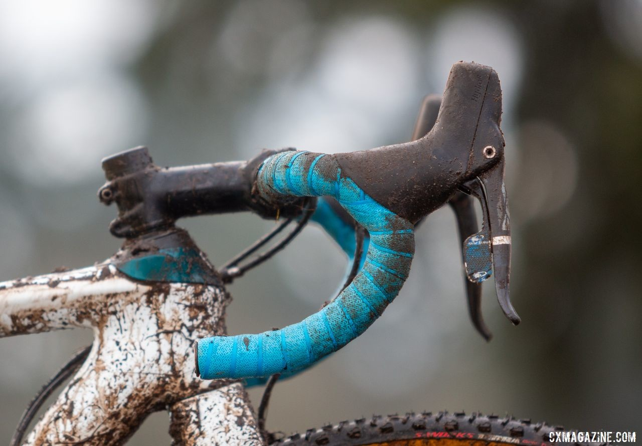 Blue bar tap from Lizard Skins accented Strohmeyer's bike. Andrew Strohmeyer's Trek Boone. 2019 USA Cycling Cyclocross National Championships bike profiles, Lakewood, WA. © A. Yee / Cyclocross Magazine