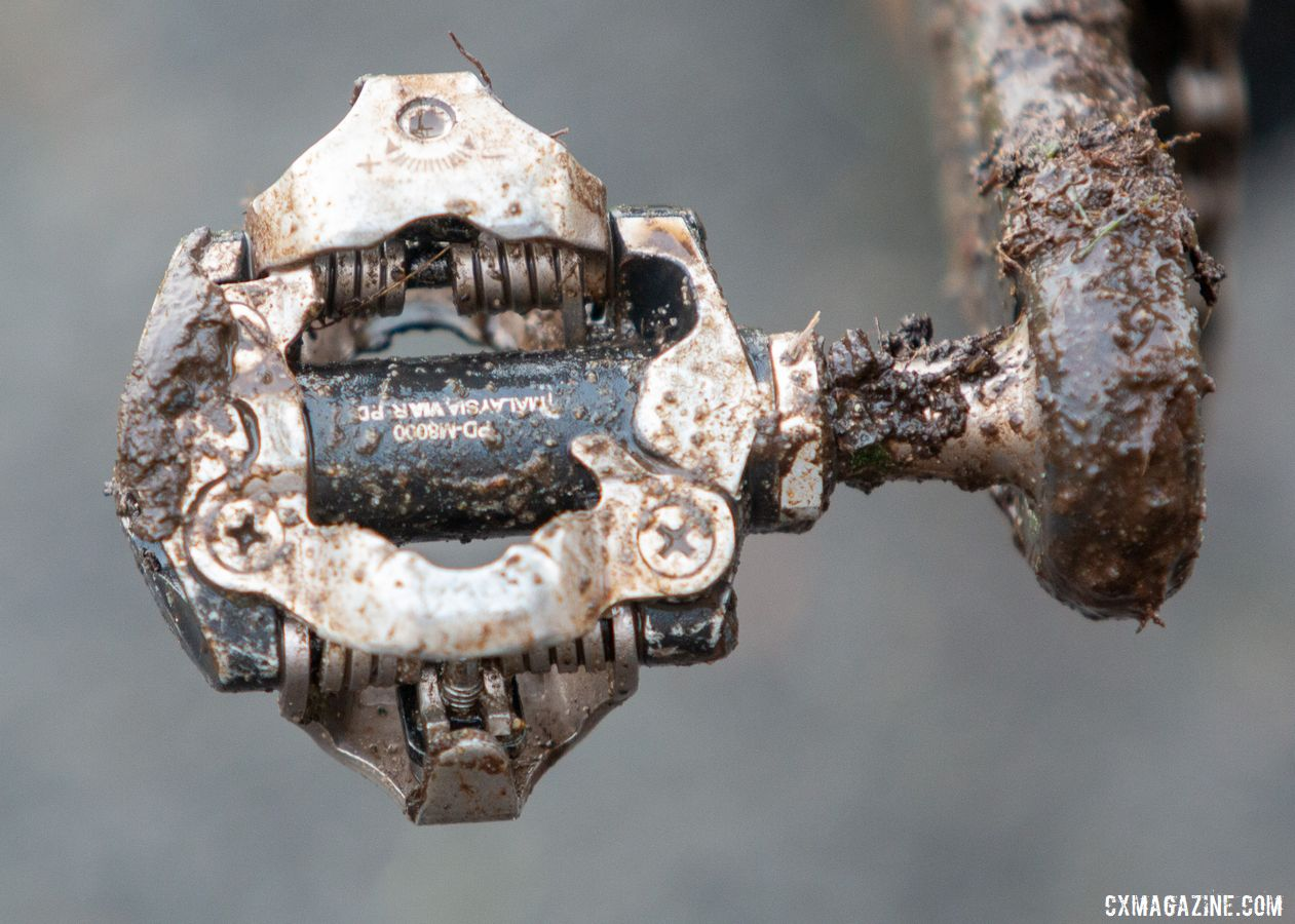 Strohmeyer used older Shimano XT PD-M8000 pedals. Andrew Strohmeyer's Trek Boone. 2019 USA Cycling Cyclocross National Championships bike profiles, Lakewood, WA. © A. Yee / Cyclocross Magazine