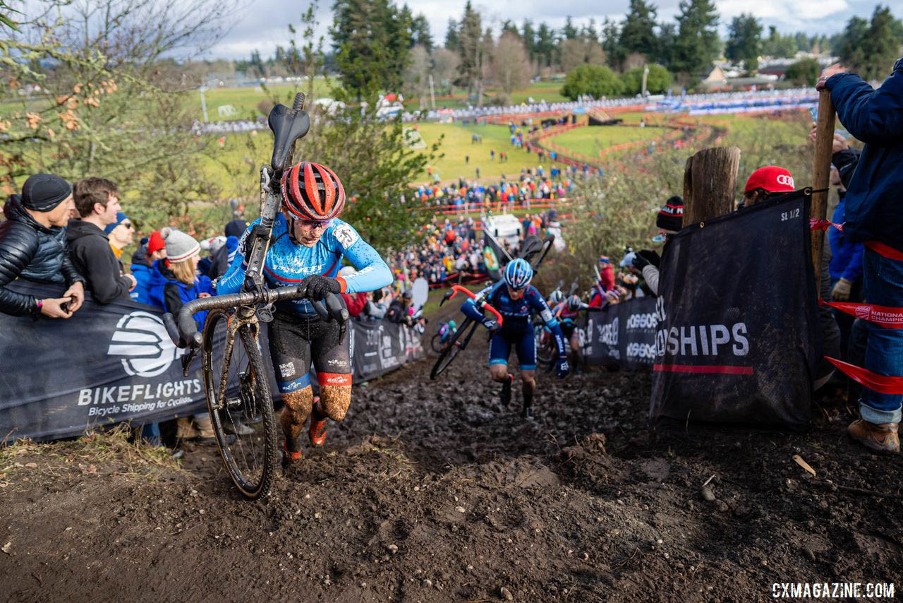 Katie Compton and Courtenay McFadden battled mightily on Sunday for the third and fourth spots for much of the race. Compton would ultimately win that battle, finishing almost a minute ahead. 2019 Lakewood U.S. Cyclocross Nationals. © Drew Coleman
