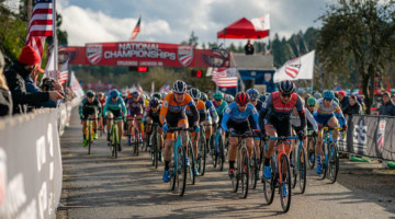 Rebecca Fahringer leads out the Elite Women's field. 2019 Lakewood U.S. Cyclocross Nationals. © Drew Coleman