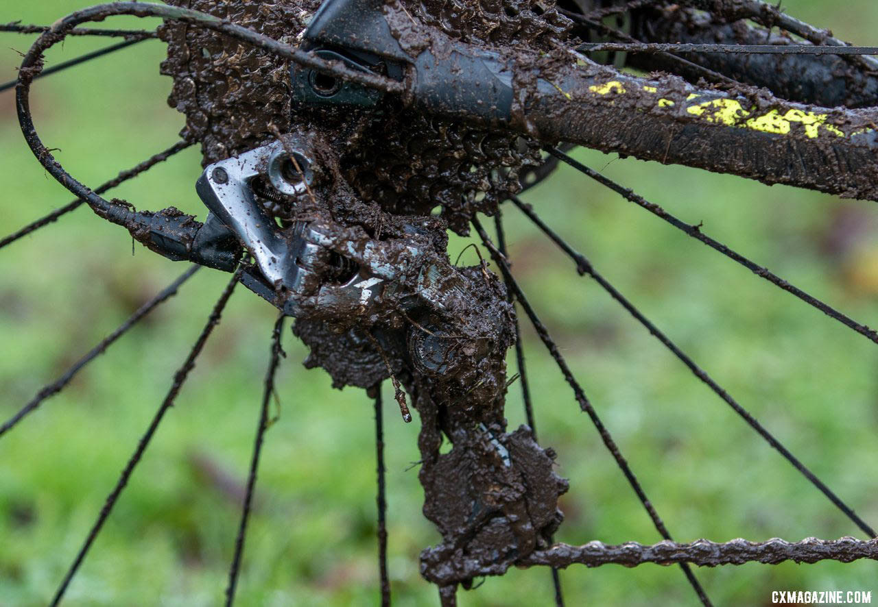 Mud was not a problem for Thompson or his SRAM Force 1 shifting - he didn't pit during his race. Caleb Thompson's Masters 35-39-winning Scott Addict CX Cyclocross bike. 2019 USA Cycling Cyclocross National Championships bike profiles, Lakewood, WA. © A. Yee / Cyclocross Magazine