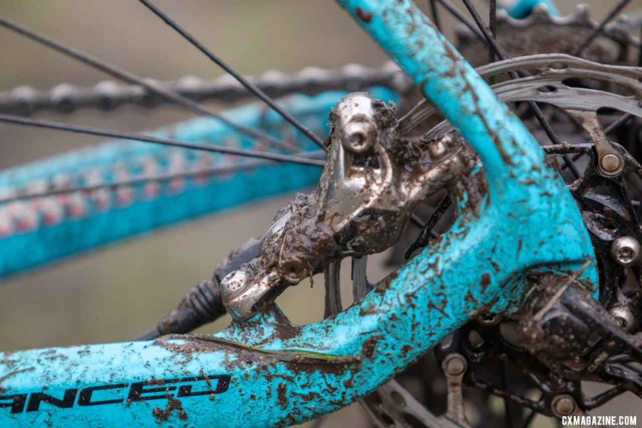 Emily's 11-28t SRAM Red cassette and chain had no problems with mud during her race. Emily Cameron's Collegiate Club Women-winning Giant TCX cyclocross bike. 2019 USA Cycling Cyclocross National Championships bike profiles, Lakewood, WA. Photo: © A. Yee / Cyclocross Magazine