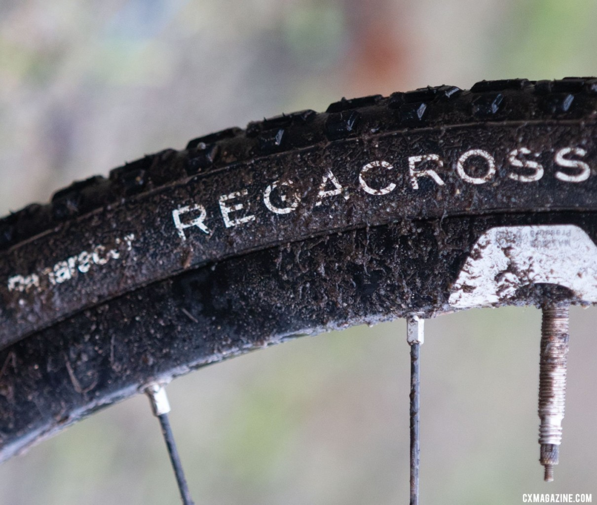 Cameron ran her 700c x 33mm Panaracer REGACROSS tires with butyl tubes. Emily Cameron's Collegiate Club Women-winning Giant TCX cyclocross bike. 2019 USA Cycling Cyclocross National Championships bike profiles, Lakewood, WA. Photo: © A. Yee / Cyclocross Magazine
