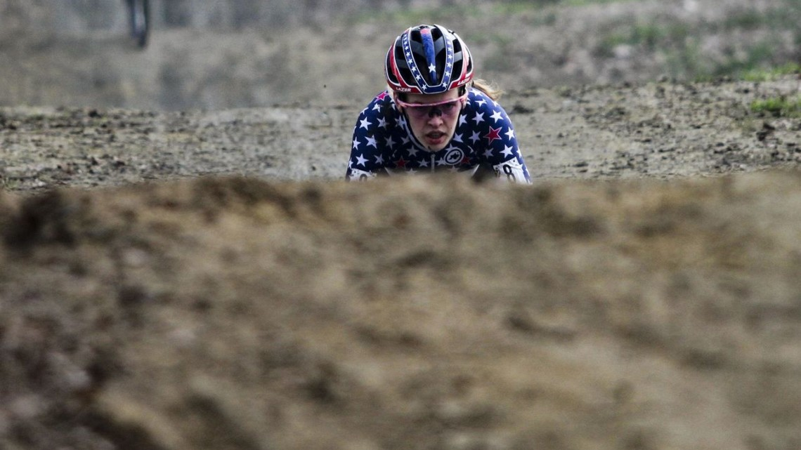 Clara Honsinger stares down the next mogul. 2020 GP Sven Nys, Baal. © B. Hazen / Cyclocross Magazine