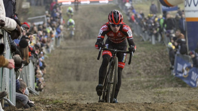 Eli Iserbyt had another strong ride and finished second. 2020 GP Sven Nys, Baal. © B. Hazen / Cyclocross Magazine