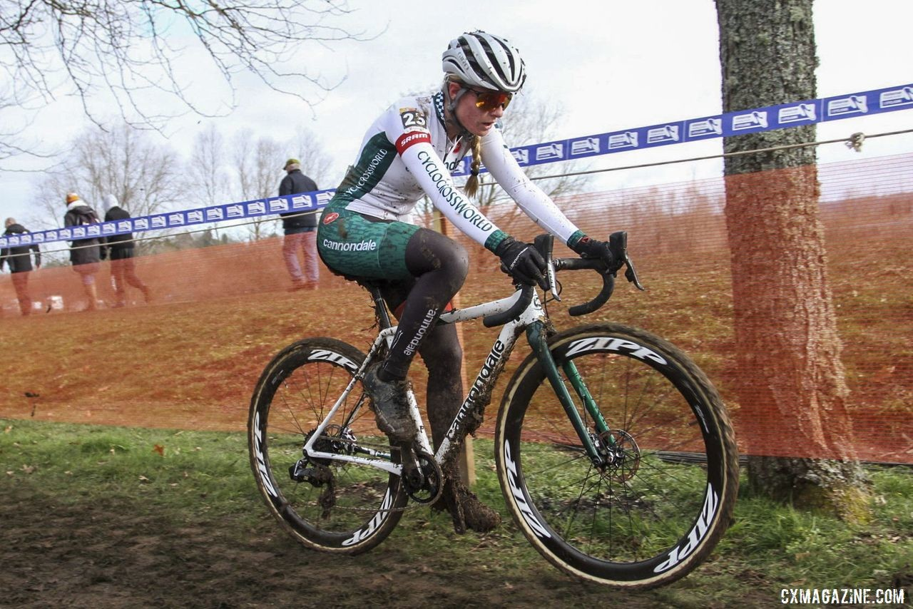 Clouse finished in the top 20 at Nommay. 2020 World Cup Nommay, France. © B. Hazen / Cyclocross Magazine