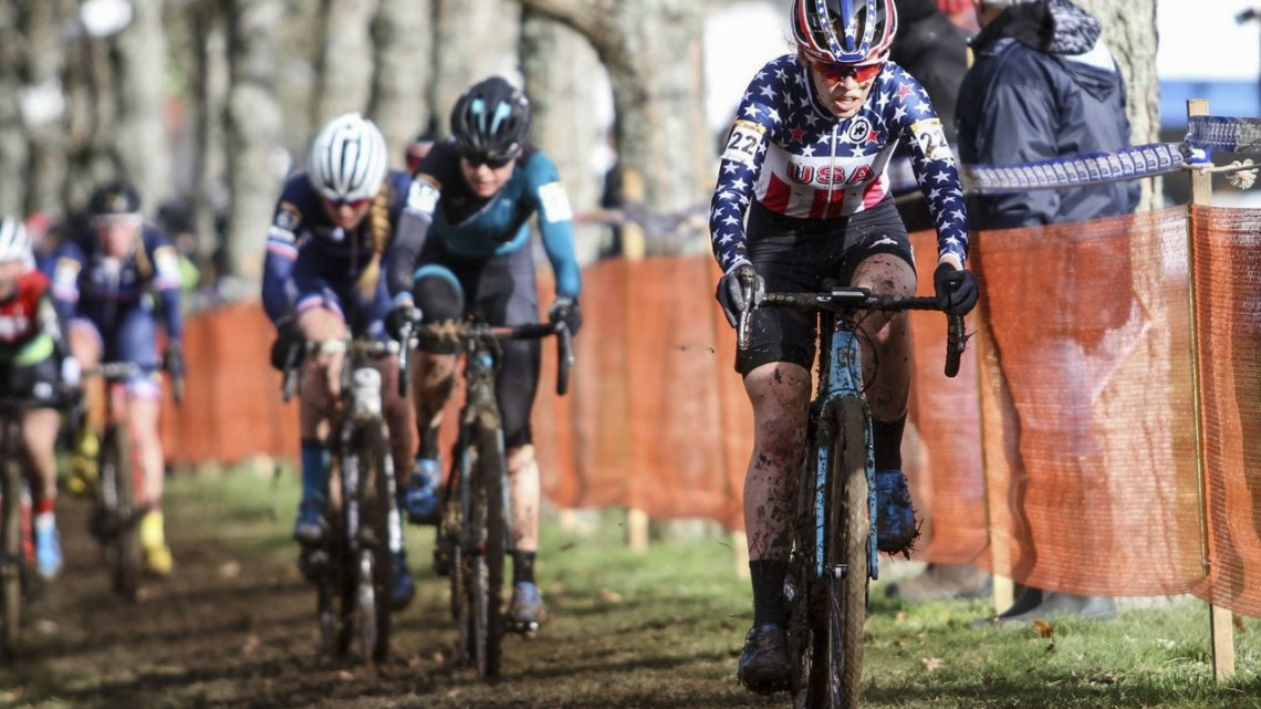 Clara Honsinger moved forward throughout the race and finished sixth. 2020 World Cup Nommay, France. © B. Hazen / Cyclocross Magazine
