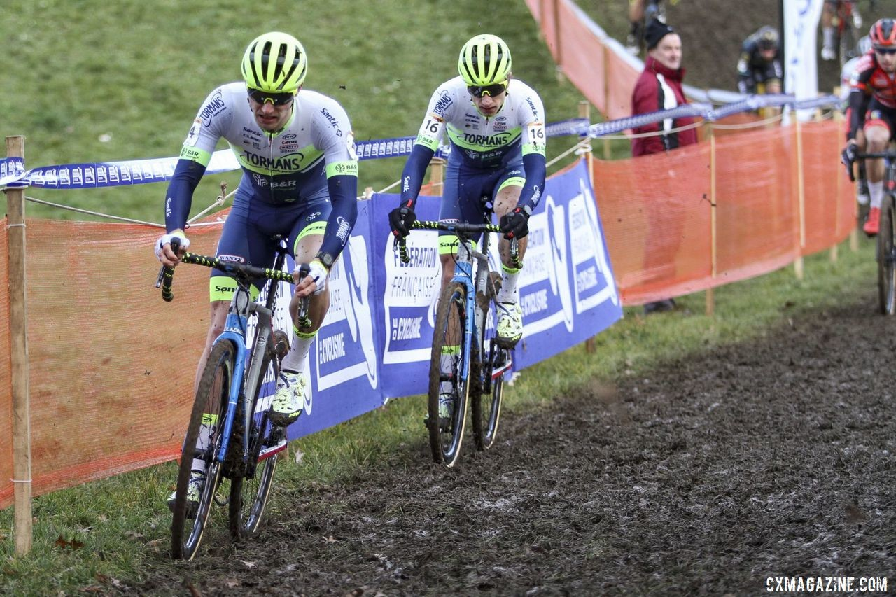 The Tormans CX Team duo of Van Kessel and Hermans finished sixth and seventh. 2020 World Cup Nommay, France. © E. Haumesser / Cyclocross Magazine