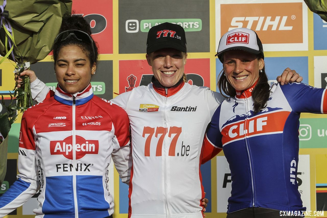 World Cup overall podium: Annemarie Worst, Ceylin Alvarado and Katerina Nash. 2020 World Cup Hoogerheide, Netherlands. © B. Hazen / Cyclocross Magazine
