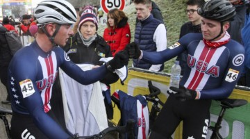 Nick Carter and Magnus Sheffield chat after their races2020 World Cup Nommay. © B. Hazen / Cyclocross Magazine