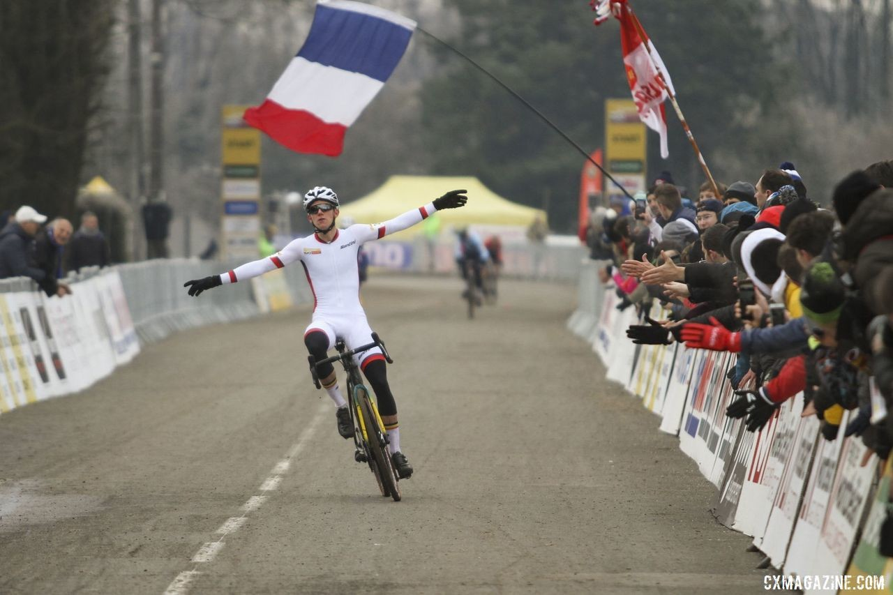 Thibau Nys celebrates his latest World Cup win. 2020 World Cup Nommay. © B. Hazen / Cyclocross Magazine
