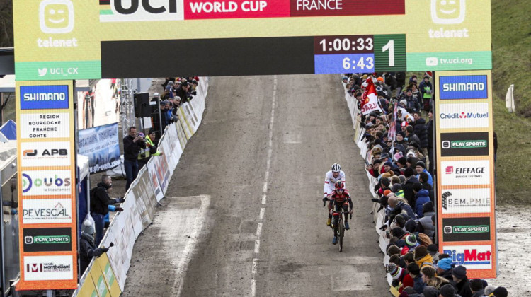 Iserbyt and Aerts entered the last lap together. 2020 World Cup Nommay. © B. Hazen / Cyclocross Magazine