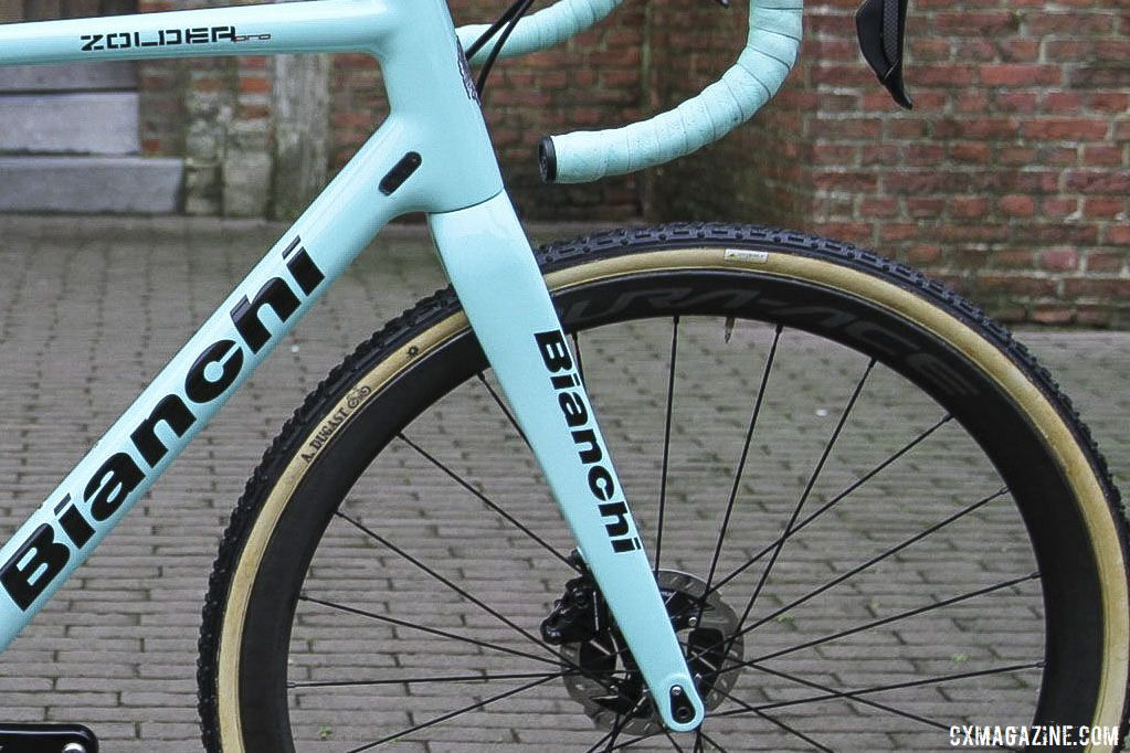 With Jumbo - Visma sponsored by Shimano, Van Aert switched to WH-R9170-C40 carbon tubulars from the Japanese company. Wout van Aert's 2019 Azencross Loenhout Bianchi Zolder Pro. © B. Hazen / Cyclocross Magazine