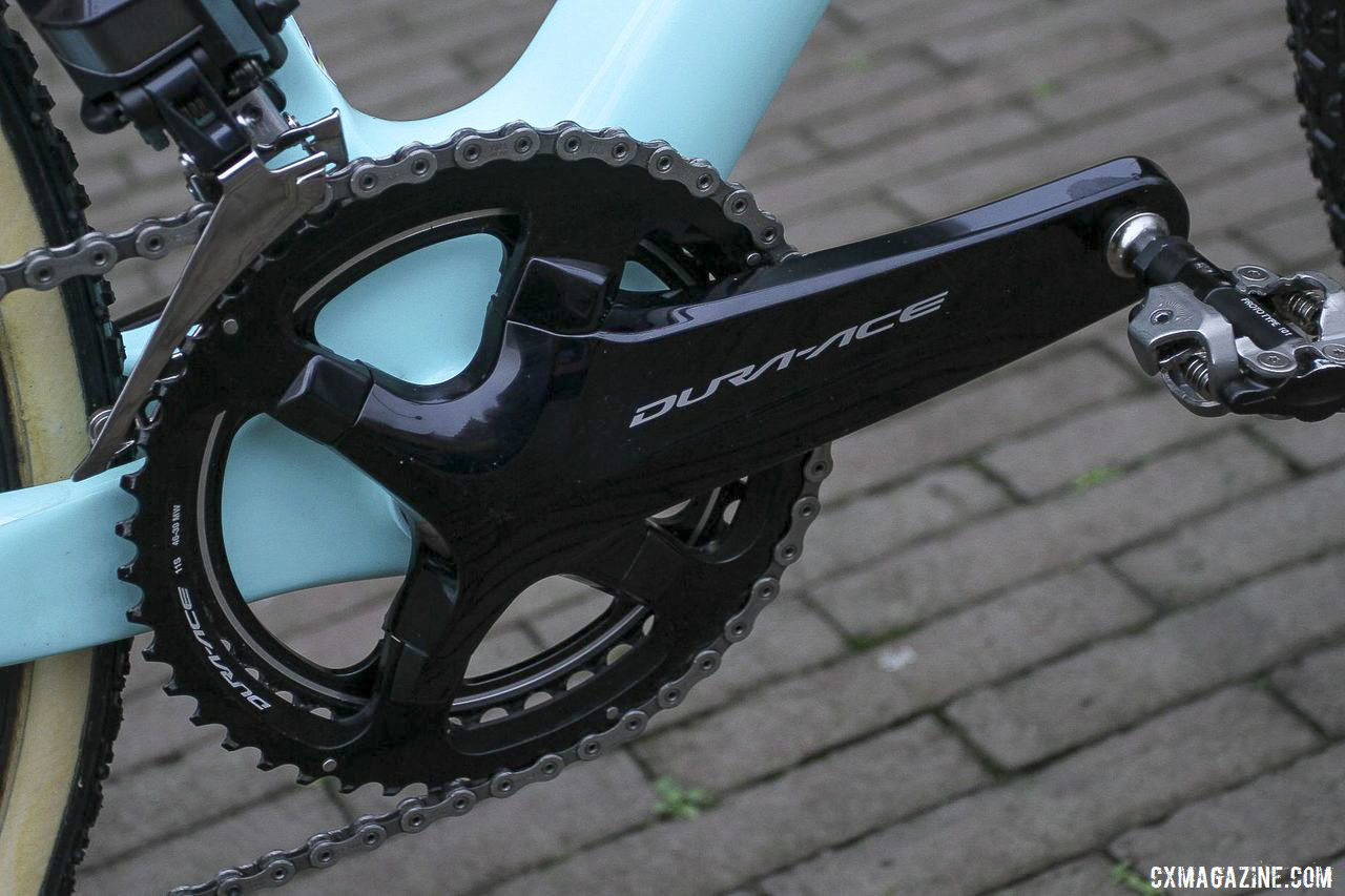 Jumbo - Visma is sponsored by Shimano, so Van Aert ran an R9100 Dura-Ace crankset with 46/39t pro-only chain rings. Wout van Aert's 2019 Azencross Loenhout Bianchi Zolder Pro. © B. Hazen / Cyclocross Magazine