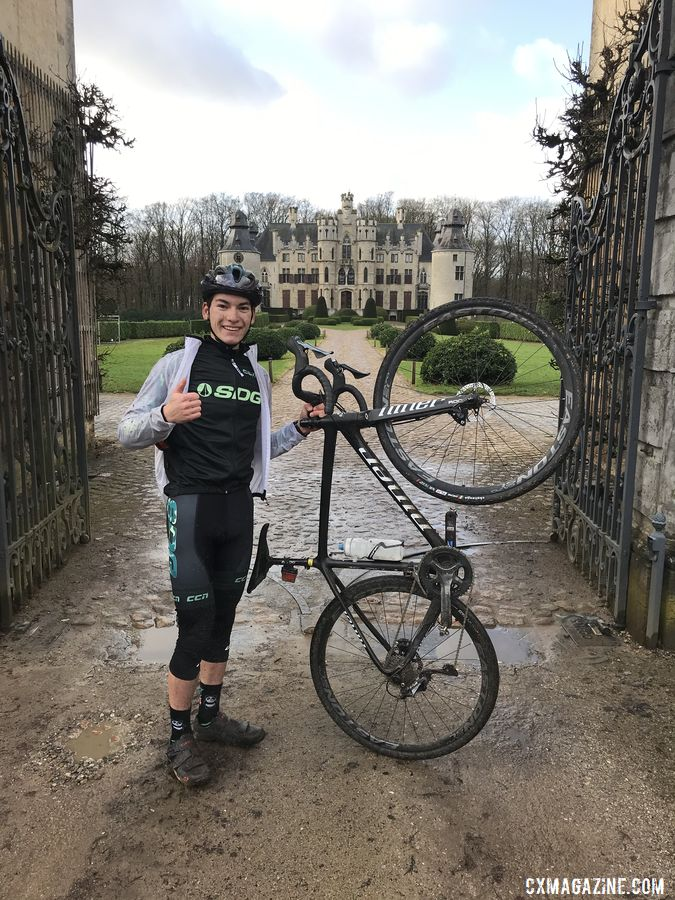 Lucas Stierwalt poses outside the castle in Vorselaar during a ride.