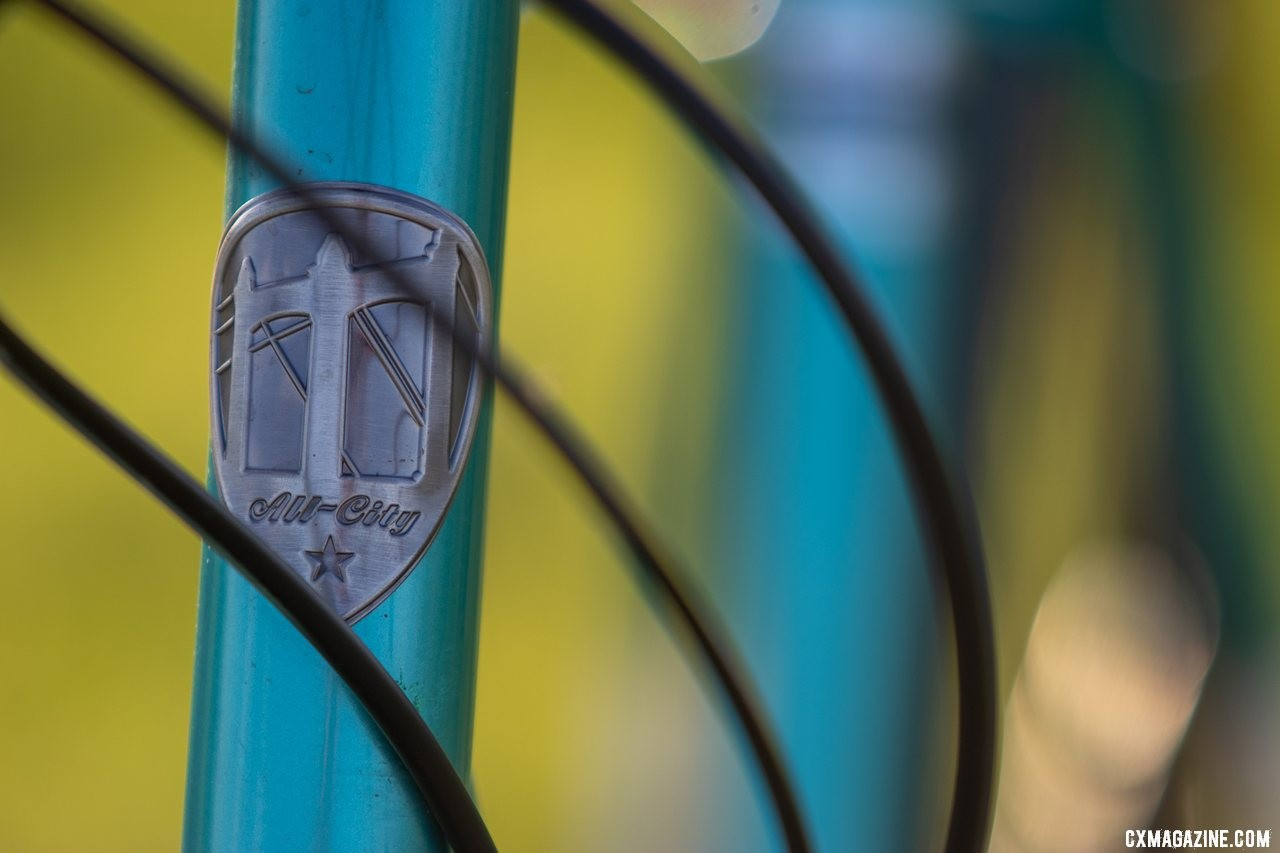 The new All-City Super Professional cyclocross bike boasts fine touchest like this handsome head badge. © Cyclocross Magazine