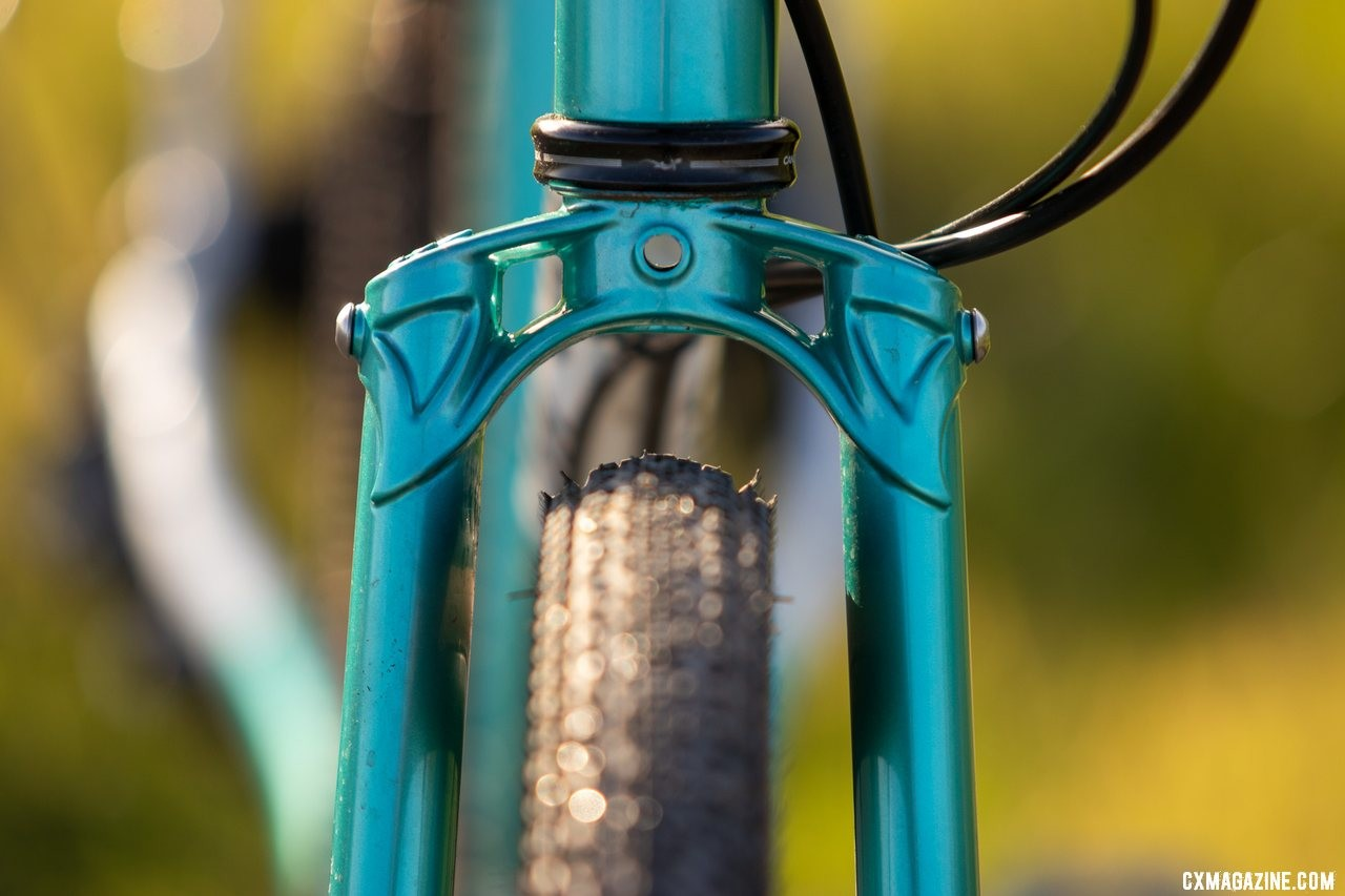 The new All-City Super Professional's fork crown looks vintage and expensive. © Cyclocross Magazine