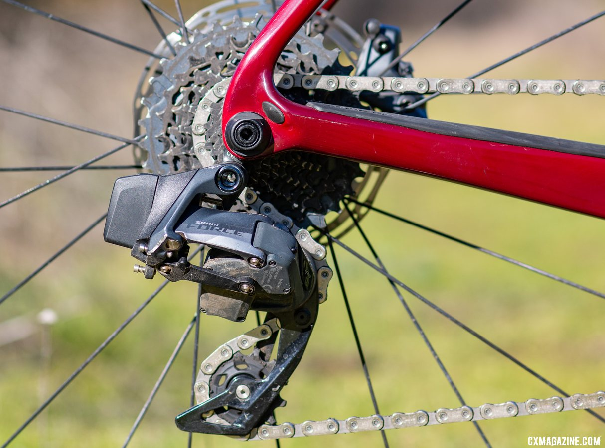 The Cervelo Aspero SRAM AXS eTap Force 1x drivetrain offers a great gear range for cyclocross but not gravel. © Cyclocross Magazine