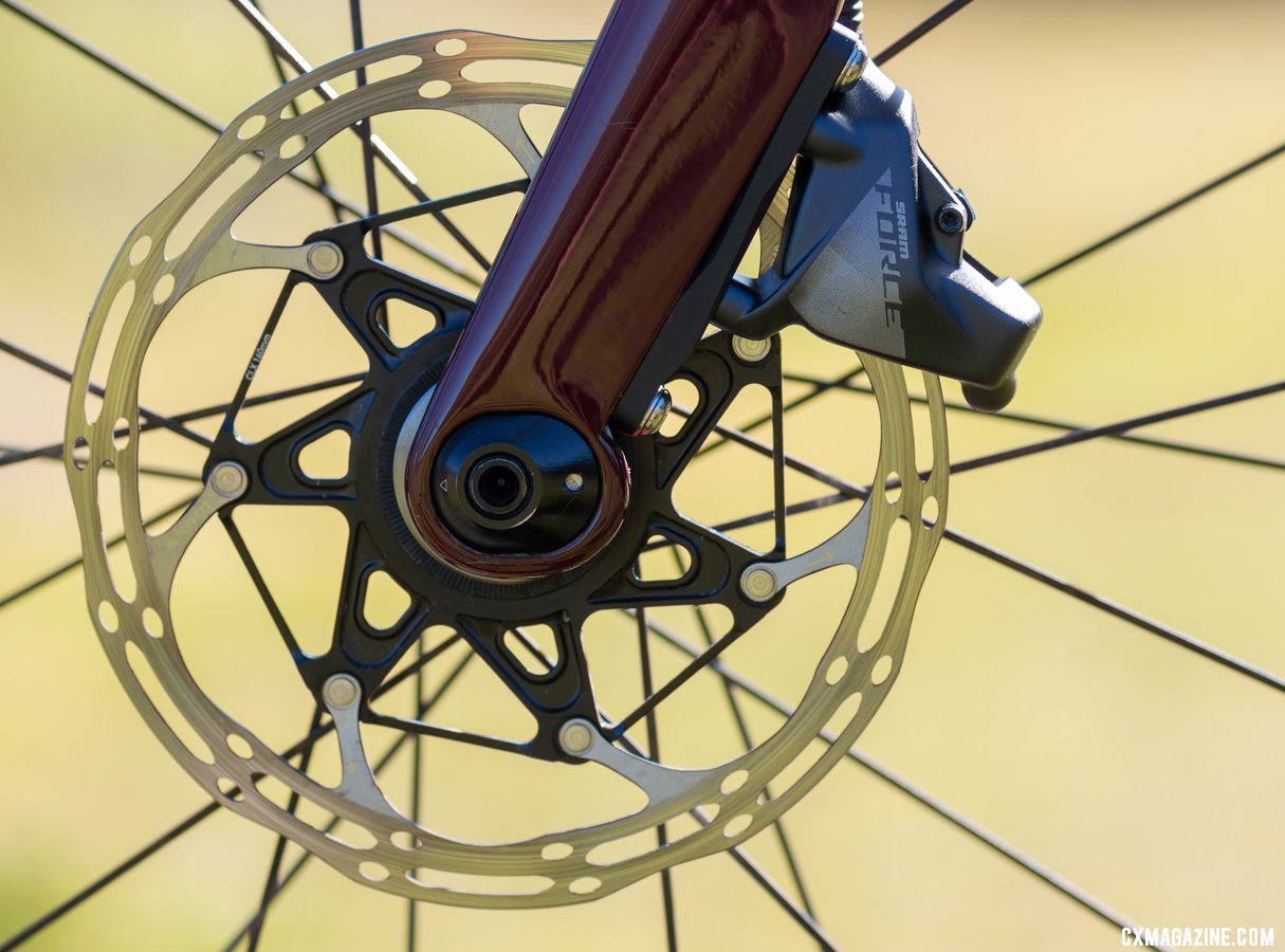 The Cervelo Aspero's fork features a Trail Mixer chip that allows for a 5mm change in offset/rake. © Cyclocross Magazine