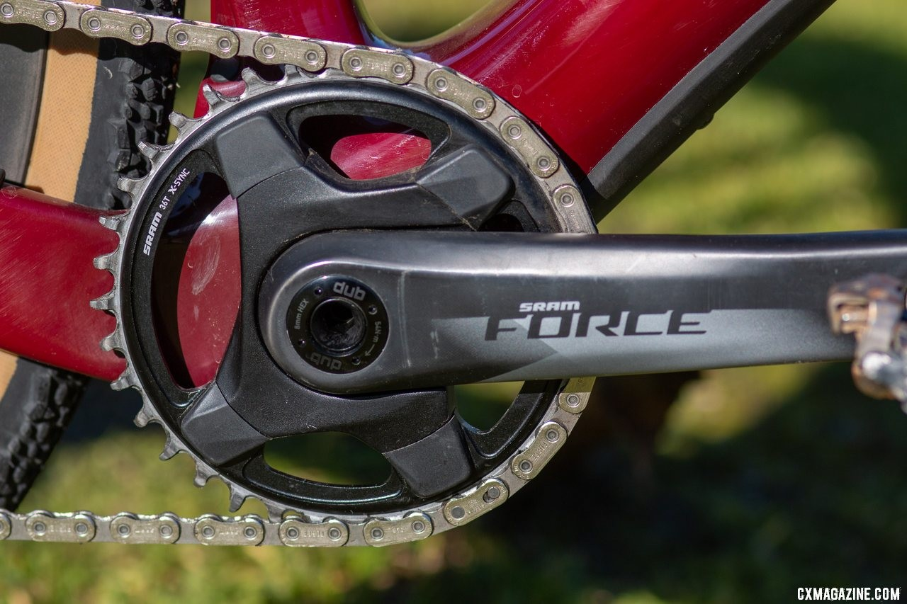 The 36x33 low gear on the Force AXS build was ideal for cyclocross, but quite tall for hilly gravel rides. The Cervelo Aspero carbon gravel bike review. © Cyclocross Magazine