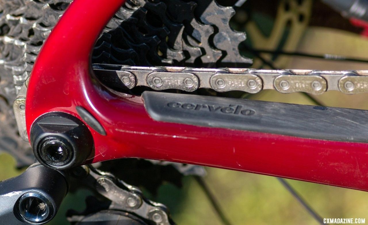 The SRAM Flattop chain barely clearas the seatstay when in the 36x10 gear. The Cervelo Aspero carbon gravel bike review. © Cyclocross Magazine