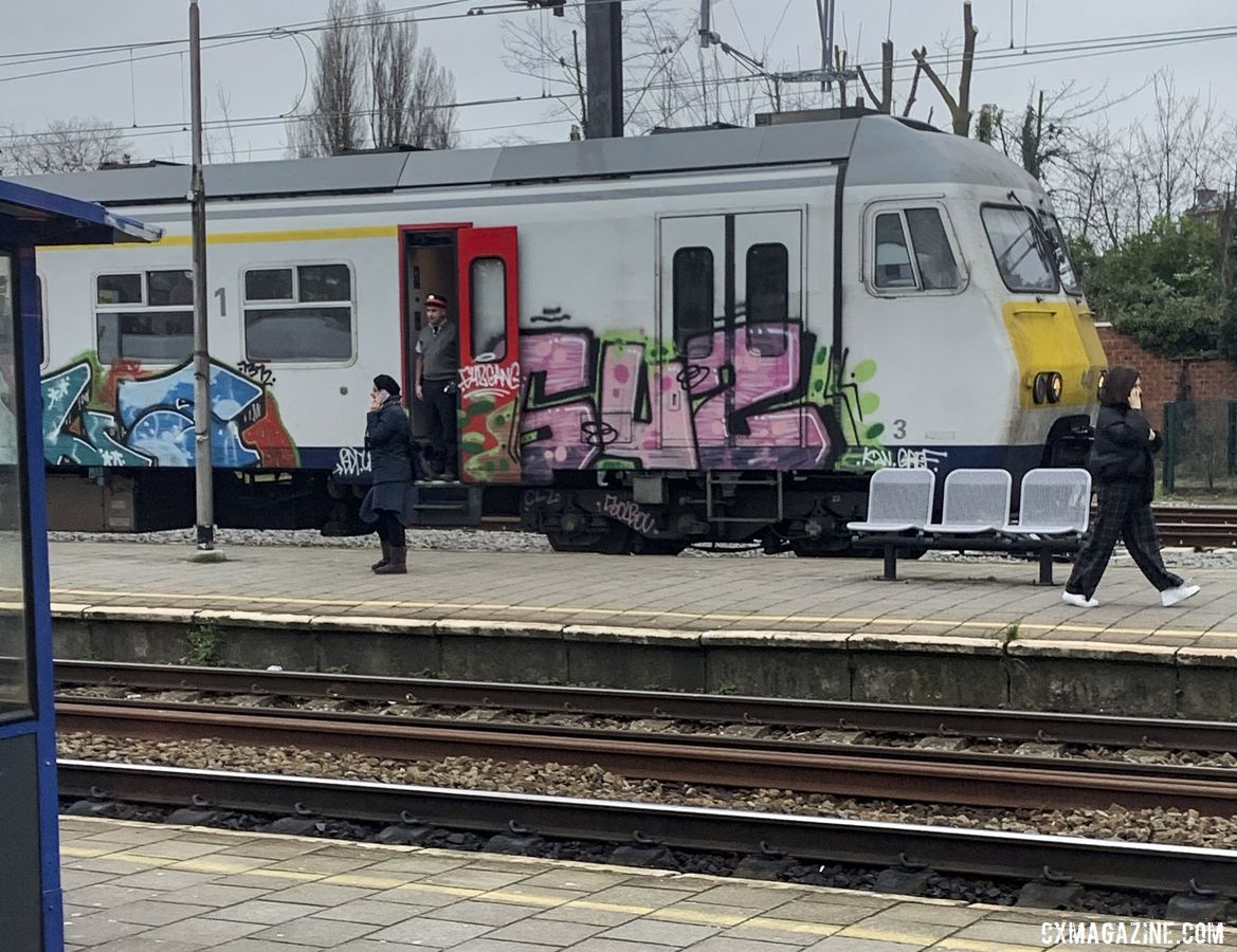 Train graffiti is part of the cityscape in Antwerp. © Skylar Bovine