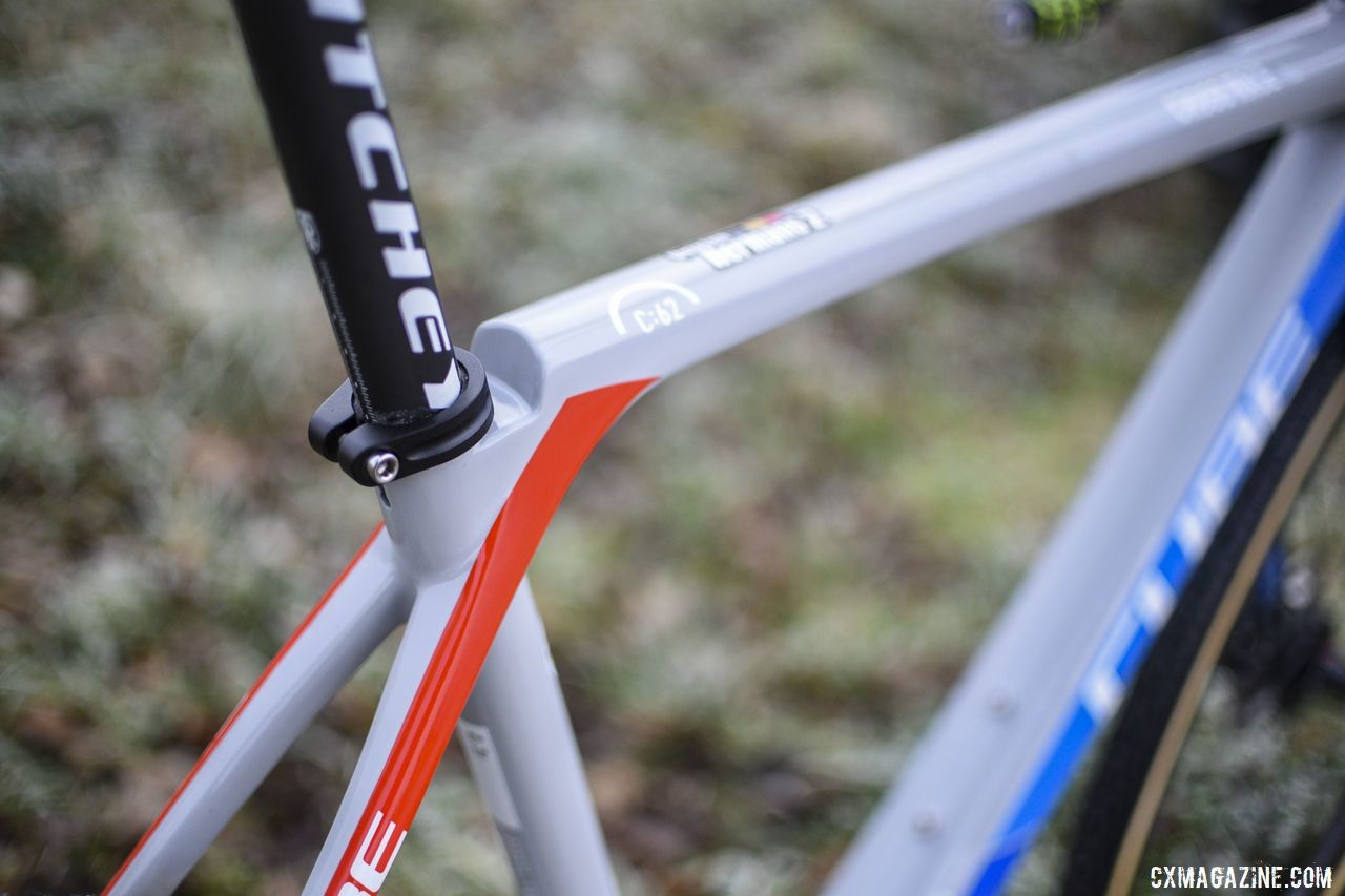 The junction between the top tube and seat stays is rounded. Quinten Hermans' Cube Cross Race C:62 Cyclocross Bike. © E. Haumesser / Cyclocross Magazine