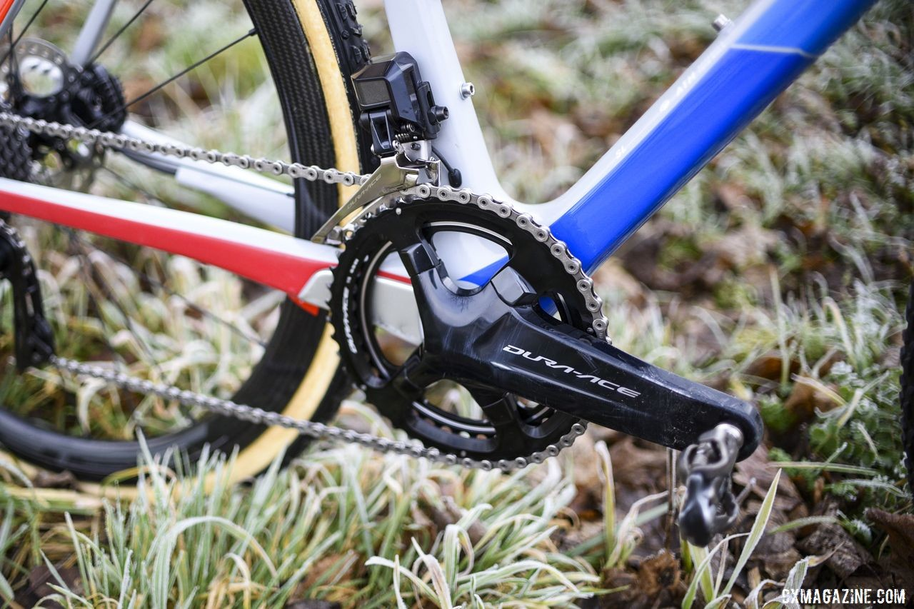 Back on Shimano Dura-Ace, Hermans ran an R9100 crank, R9150 front derailleur and 46/39t rings. Quinten Hermans' Cube Cross Race C:62 Cyclocross Bike. © E. Haumesser / Cyclocross Magazine