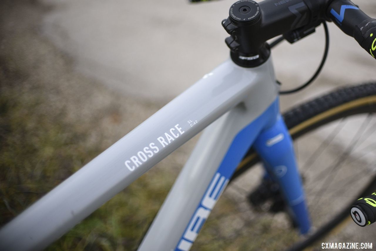 Cube's cyclocross bike is the Cross Race. The Cross Race C:62 is its flagship carbon frameset. Quinten Hermans' Cube Cross Race C:62 Cyclocross Bike. © E. Haumesser / Cyclocross Magazine