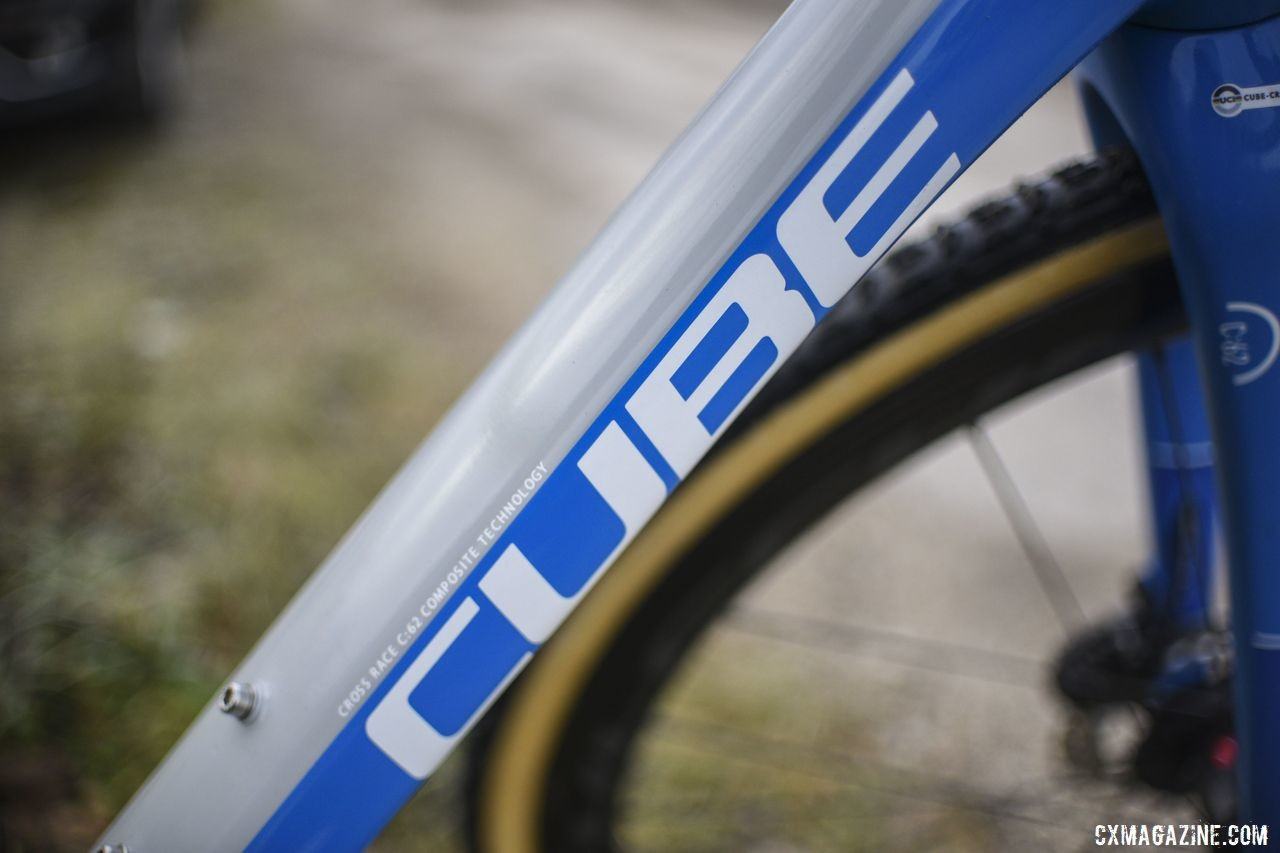 The Cube Cross Race C:62 down tube has a boxy appearance reminiscent of the bikes name. Quinten Hermans' Cube Cross Race C:62 Cyclocross Bike. © E. Haumesser / Cyclocross Magazine