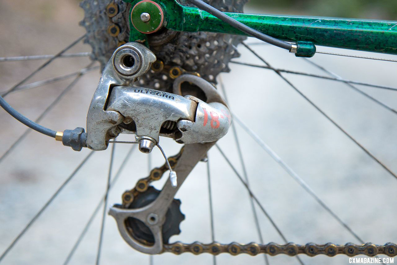 Acquired at a bicycle co-op, the $18.00 price tag is still visible on the Ultegra derailleur. Ultraromance's Crust Lightning Bolt gravel bike. © A. Yee / Cyclocross Magazine