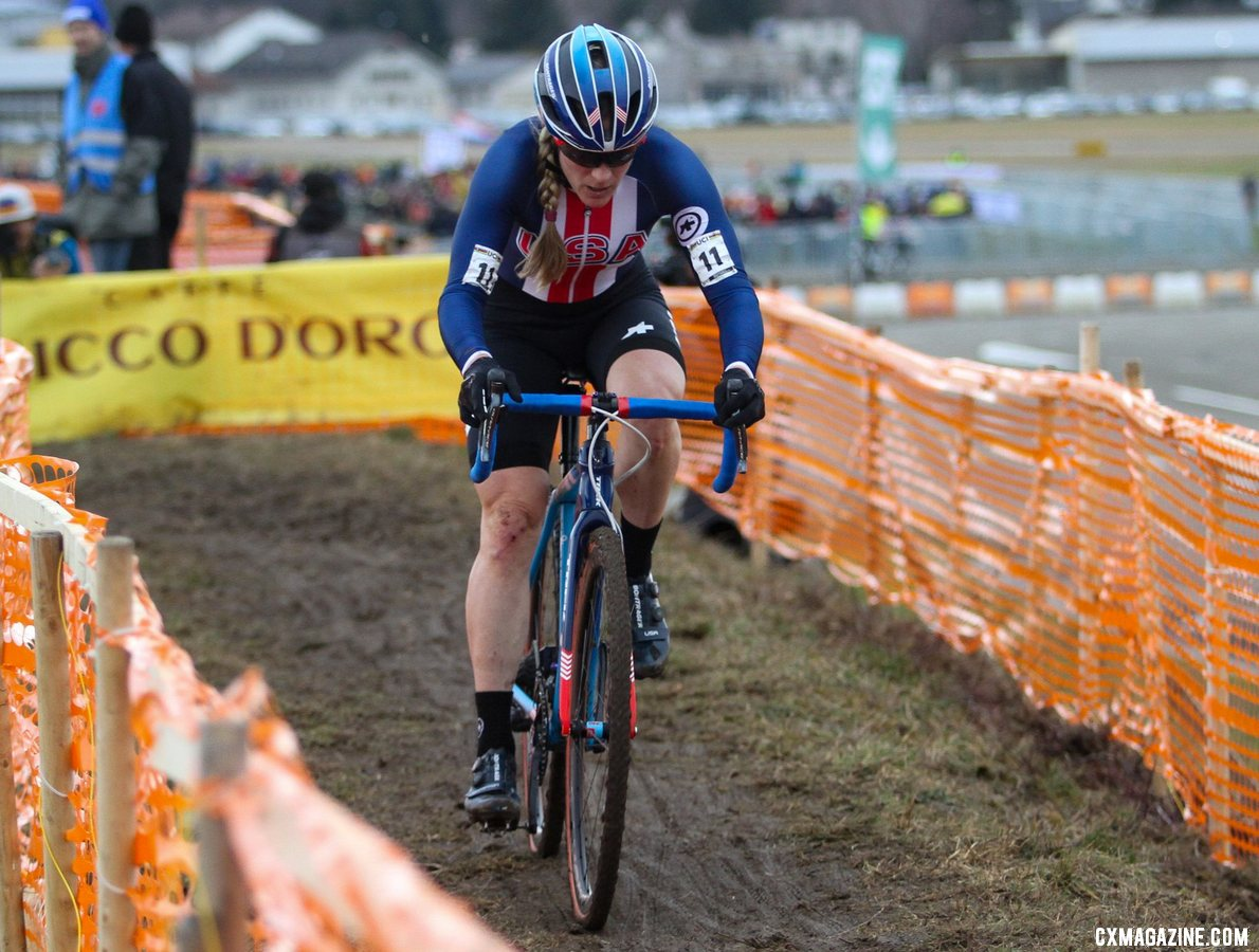 Katie Compton had strong ride to finish fourth. 2020 UCI Cyclocross World Championships, Dübendorf, Switzerland. © B. Hazen / Cyclocross Magazine