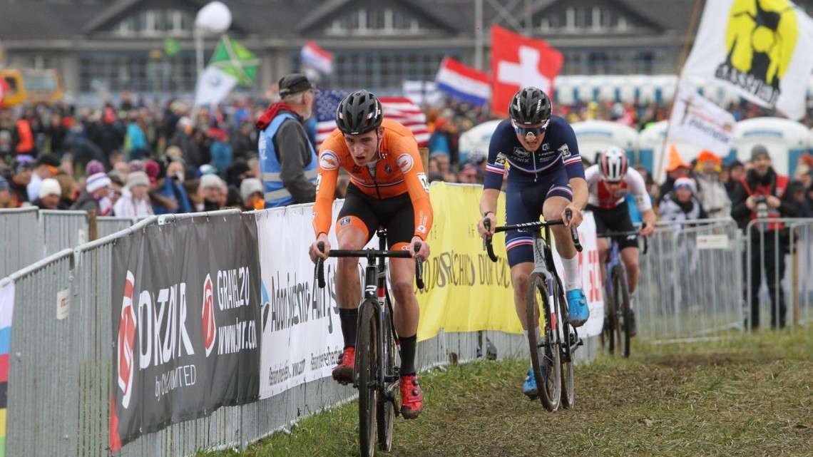 Kamp was any early aggressor. U23 Men. 2020 UCI Cyclocross World Championships, Dübendorf, Switzerland. © B. Hazen / Cyclocross Magazine