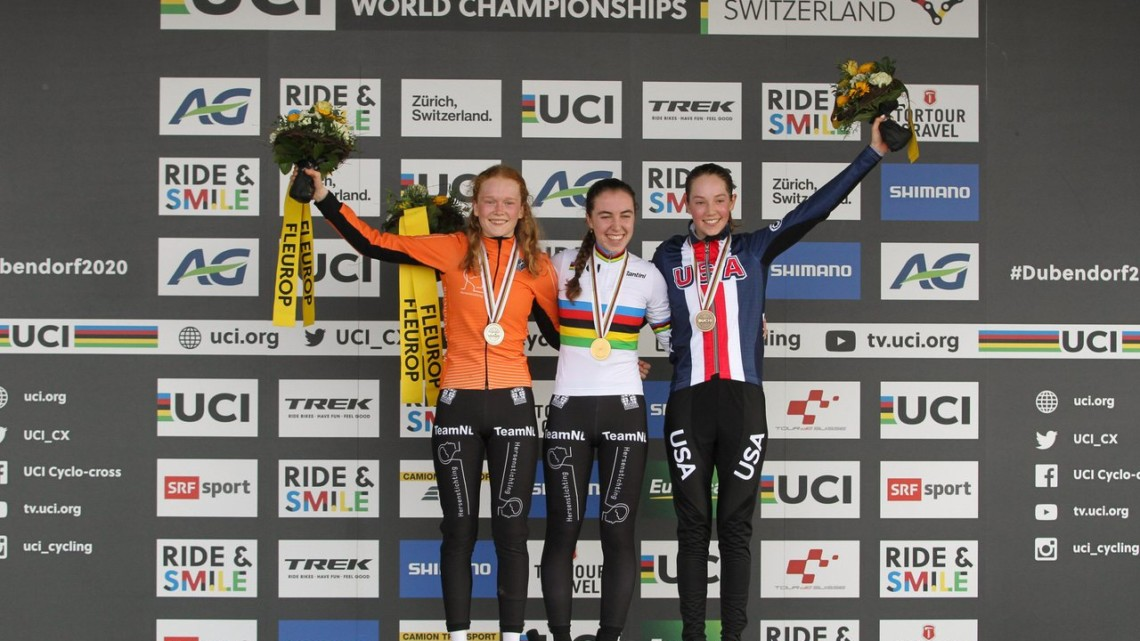 Shirin van Anrooij wins the first-ever Junior Women's world title, with Puck Pieterse in silver and Maddie Munro in bronze. 2020 UCI Cyclocross World Championships, Dübendorf, Switzerland. © B. Hazen / Cyclocross Magazine