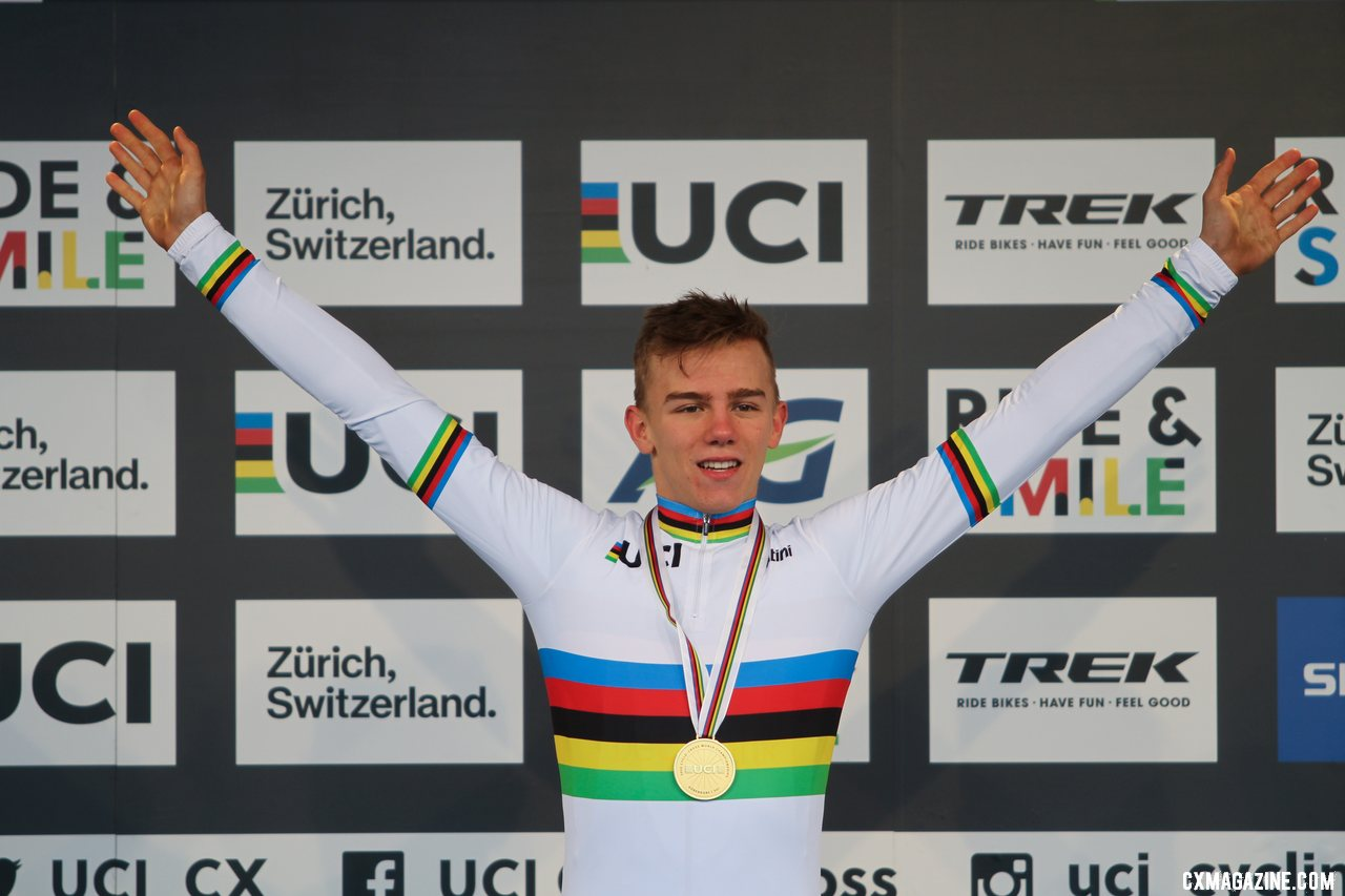 Thibau Nys capped off a dominant season with a Junior Men's world title. 2020 UCI Cyclocross World Championships, Dübendorf, Switzerland. © B. Hazen / Cyclocross Magazine