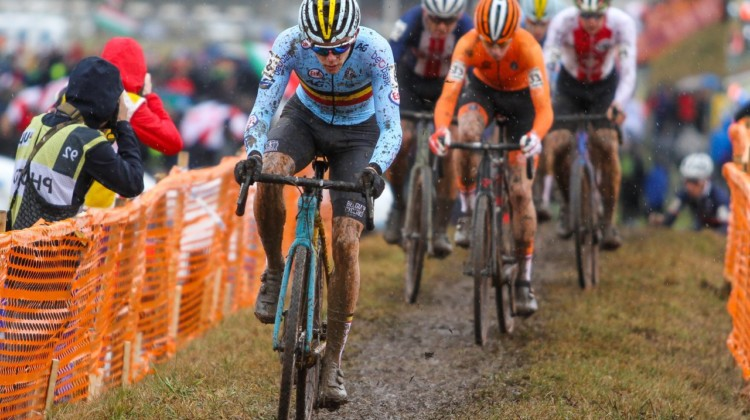 Thibau Nys took over the lead from Magnus Sheffield on lap one and would dominate late to with the Junior Men's title. 2020 UCI Cyclocross World Championships, Dübendorf, Switzerland. © B. Hazen / Cyclocross Magazine