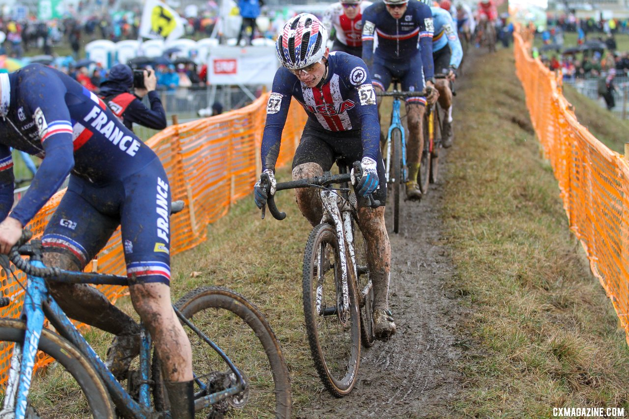 Team USA had a good day with a Sheffield lead on lap one, and a Strohmeyer 10th place. 2020 UCI Cyclocross World Championships, Dübendorf, Switzerland. © B. Hazen / Cyclocross Magazine