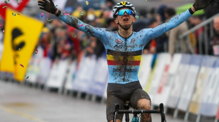 Thibau Nys caps off a dominant season with a Junior Men's world championship and rainbow jersey. 2020 UCI Cyclocross World Championships, Dübendorf, Switzerland. © B. Hazen / Cyclocross Magazine
