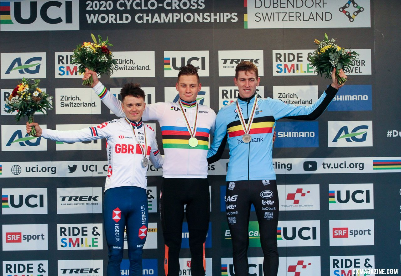 Elite Men, from L to R: Pidcock, van der Poel and Aerts. 2020 UCI Cyclocross World Championships, Dübendorf, Switzerland. © B. Hazen / Cyclocross Magazine