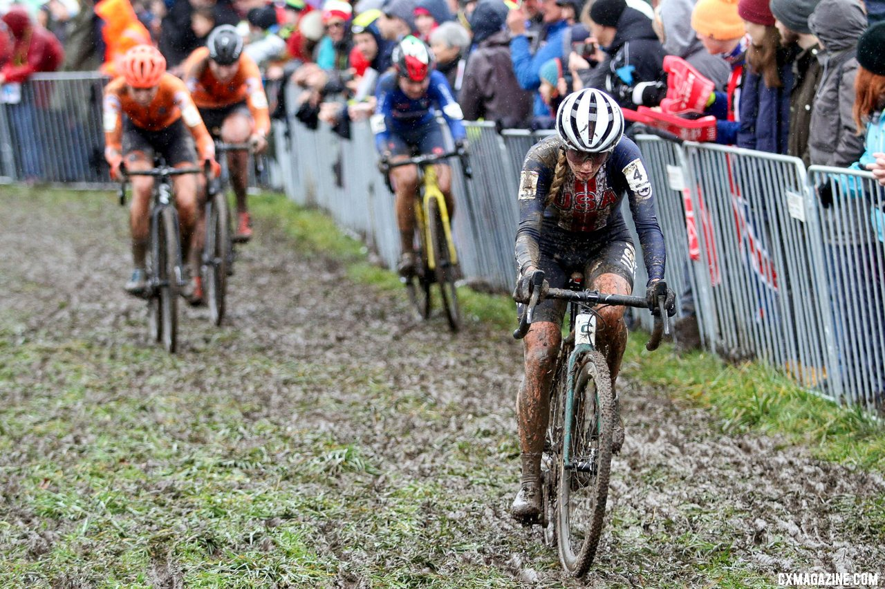 Katie Clouse grabbed an early first-lap lead in her first year as a true U23 racer. U23 Women, 2020 UCI Cyclocross World Championships, Dübendorf, Switzerland. © B. Hazen / Cyclocross Magazine
