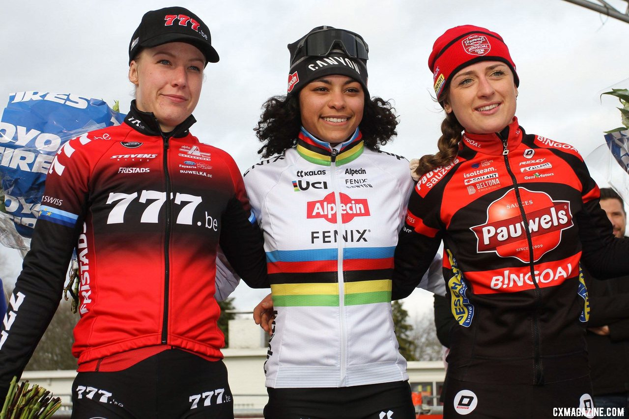 Worst, Alvarado and Betsema. The same podium as Middelkerke, but second and third reversed. Elite Women. 2020 Vestingcross Hulst. © B. Hazen / Cyclocross Magazine
