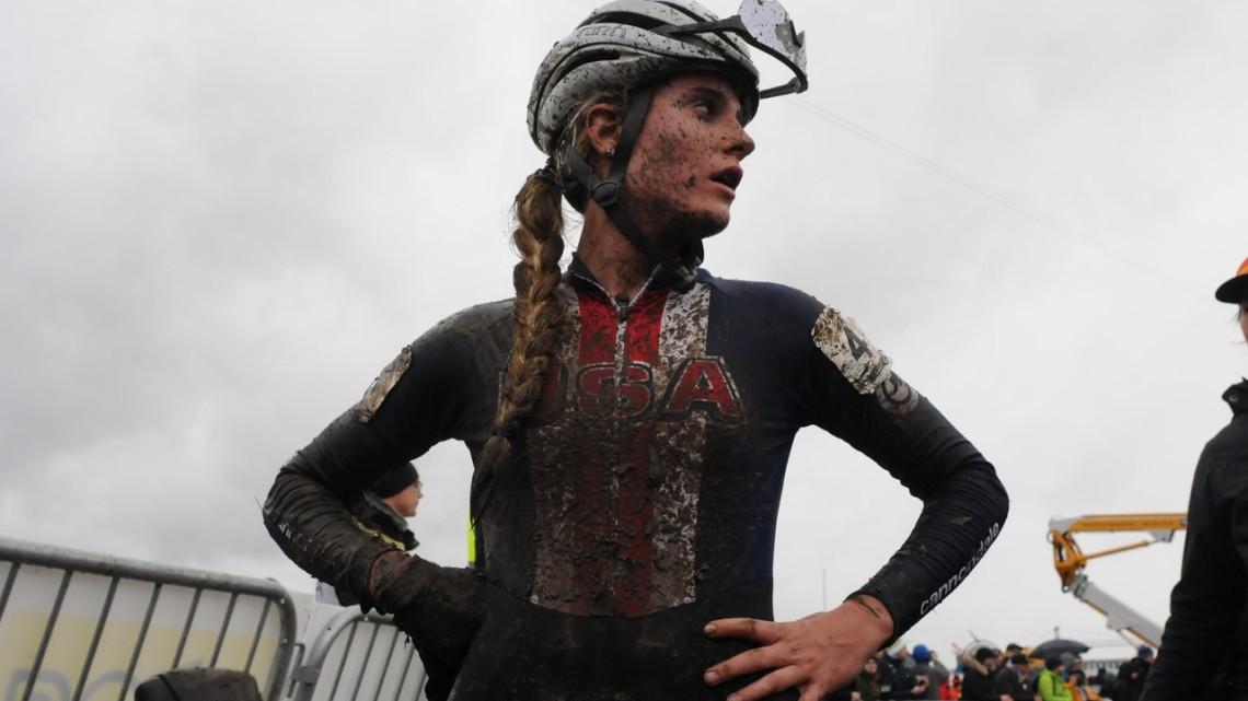First-year U23 Katie Clouse took the lead and finished fourth. Team USA. 2020 UCI Cyclocross World Championships, Dübendorf, Switzerland. © D. Steinle / Cyclocross Magazine