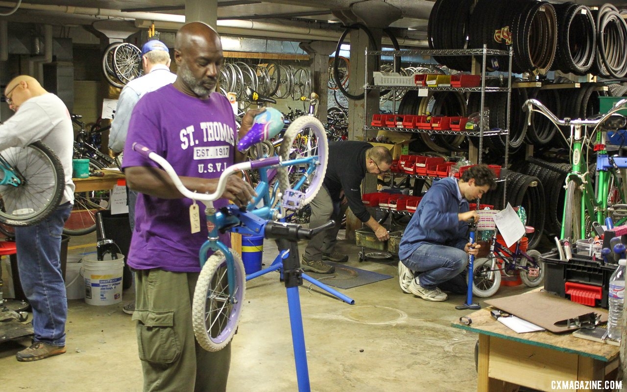 Volunteers power nonprofits like Bicycles for All nonprofit bike shop. © B. Grant / Cyclocross Magazine
