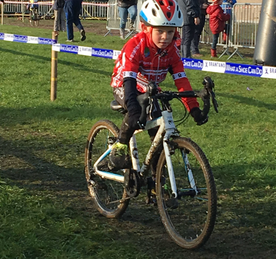A future bunnyhopper? A Junior racer in Belgium starts young.