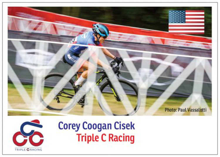 Corey Coogan Cisek's rider card for the 2019-2020 European cyclocross season.